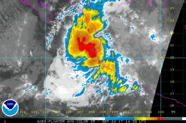Tropical Storm Pilar brought heavy rains and winds to the southwestern coast of Mexico on Sunday morning. Image courtesy of NOAA