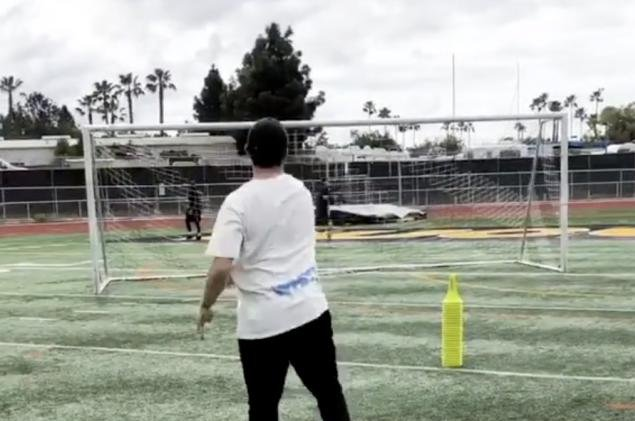 Johnny Manziel participates in a throwing drill with quarterback guru George Whitfield Tuesday in San Diego. Photo courtesy of Johnny Manziel/Instagram
