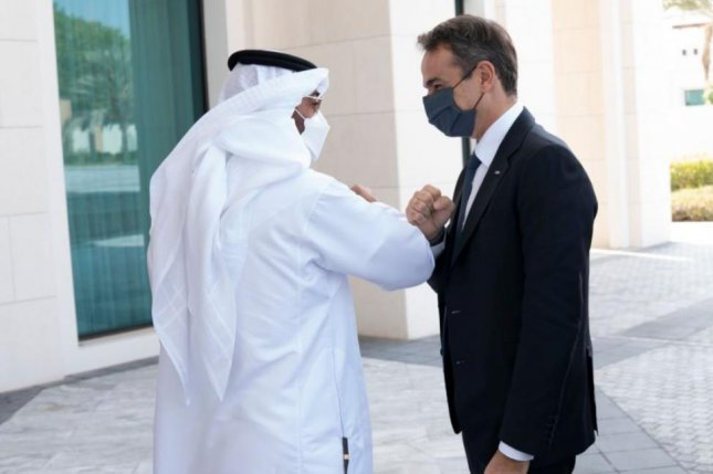 United Arab Emirates Crown Prinmce Mohammed bin Zayed, L, and Greek Prime Minister Kyriakos Mitsotakis agreed to a joint defense agreement in Abu Dhabi on Monday. Photo courtesy of Crown Prince's Office/Twitter