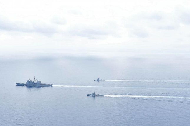The USS Monterey joined forces with the Israeli Sa'ar 4.5 ships in the Eastern Mediterranean Sea on Monday. Photo courtesy of U.S. Navy