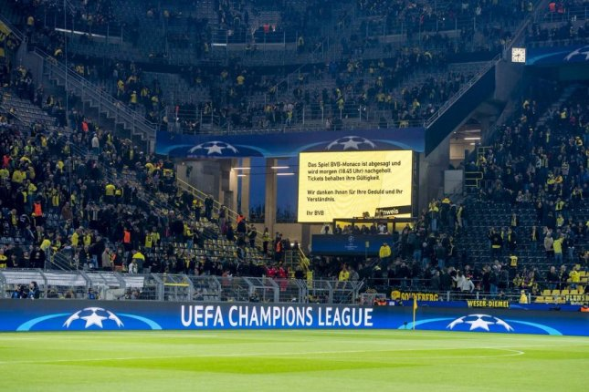 The Champions League match between Borussia Dortmund and Monaco was postponed until Wednesday after one player was injured in an explosion near the bus. Photo courtesy Borussia Dortmund via Twitter.