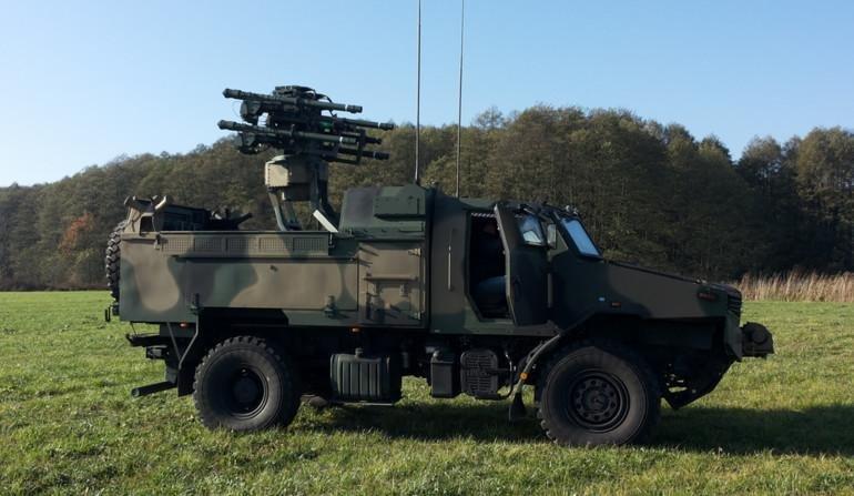 The AMZ-Kutno Zubr-P armored platform used as part of the Poprad VSHORAD air defense system. PIT-RADWAR photo.