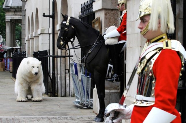 Greenpeace activist at London's Horse Guards. The bear's shape and behavior make it particularly suited for impersonations as part of political theater. Photo by Elizabeth Dalziel/Greenpeace