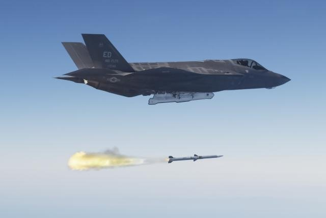 An F-35 Lightning II launches an Aim-120 AMRAAM missile. U.S. Air Force photo