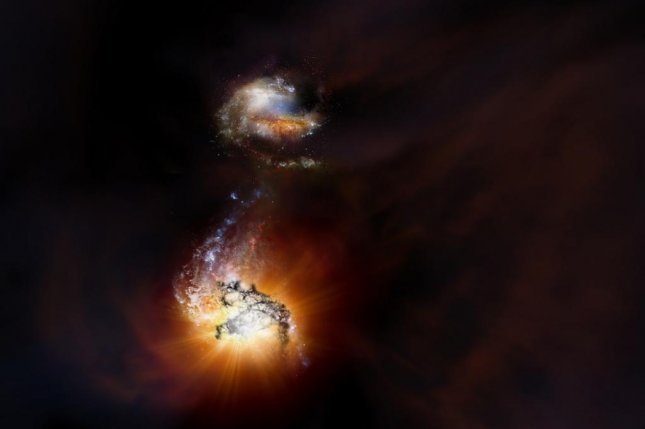 An artistic rendering showcases ADFS-27, a cosmic system featuring two massive, intensely bright galaxies in the process of merging some 12.7 billion years ago. Photo by NRAO/AUI/NSF