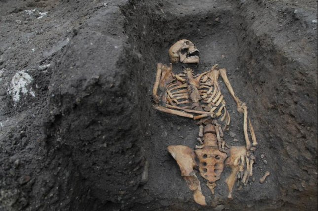 The remains of a man buried in the graveyard of an Augustinian friary located in Cambridge, England, are among several that researchers say reveals the possibly rough life the city's residents had. Photo by Nick Saffell