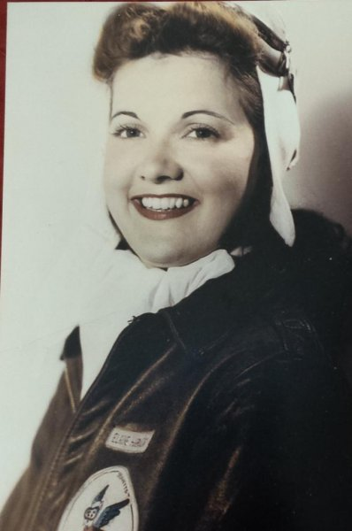 Elaine Danforth Harmon during her WASP days in World War II. Photo courtesy of the Harmon family
