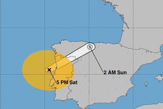 Hurricane Leslie, which became a named storm on Sept. 23, was downgraded to a tropical storm Saturday. It was located about 85 miles south-southwest of Porto, Portugal and about 125 miles north of Lisbon, Portugal, the National Hurricane Center said. Image courtesy NOAA