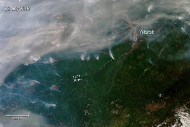 Dozens of wildfires continue to burn throughout Siberia, as seen in this newly released photograph taken by the European Space Agency's Copernicus Sentinel-3 satellite. Photo by Copernicus/ESA