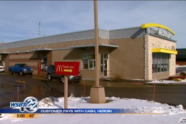 A customer at this LaPorte, Ind., McDonald's handed over a bag of heroin with his money. WSBT-TV/YouTube video screenshot