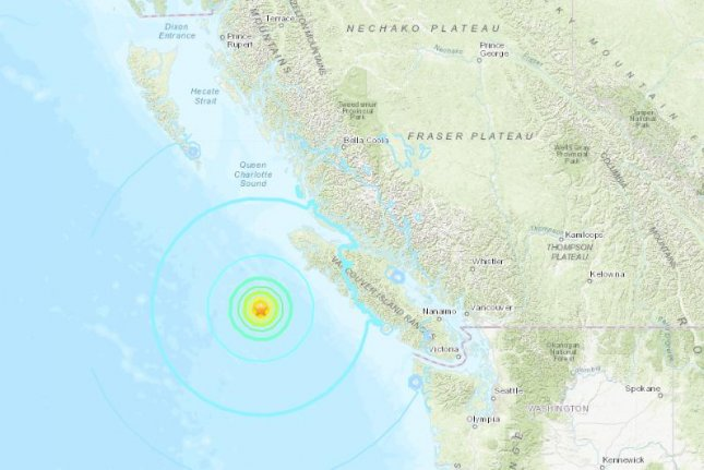 The USGS reported three significant earthquakes off the Pacific coast late Sunday. Image courtesy USGS