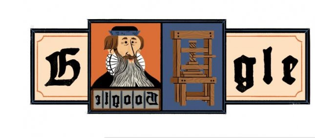 Google is paying homage to Johannes Gutenberg who invented the mechanical moveable type printing press. Image courtesy of Google