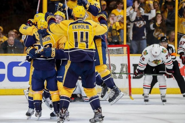 The Nashville Predators await its second-round opponent after a first-round sweep of the Chicago Blackhawks in the Western Conference playoffs Thursday at Bridgestone Arena. Photo courtesy of the Predators/Instagram