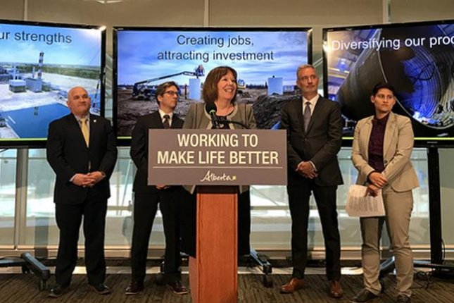 Alberta's Energy Minister Margaret McCuaig-Boyd lays out plans to support the largest manufacturing sector in the province with a $1.5 billion commitment. Photo courtesy of the provincial government of Alberta.