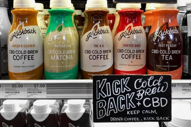 A grocery in Los Angles displays cold brew coffee and tea infused with CBD. Photo by Deceptitom/Wikimedia Commons