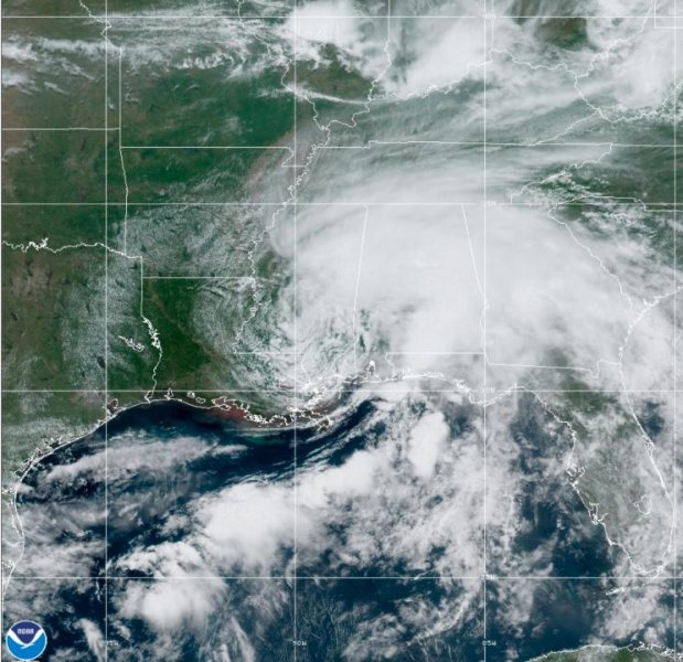 Claudette, the first named storm of the season, was downgraded to a tropical depression on Saturday afternoon.Image courtesy of the National Oceanic and Atmospheric Administration