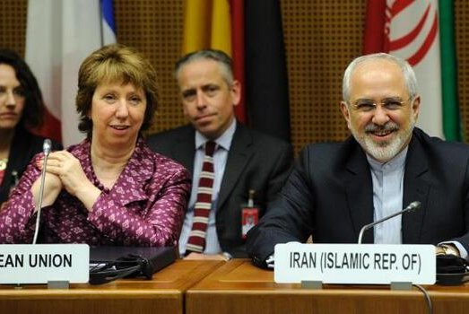 European Union foreign policy chief Catherine Ashton and Iranian Foreign Minister Javad Zarif at a meeting to discuss Iran's nuclear program in Vienna, Austria on July 3, 2014. (Twitter/European Union)