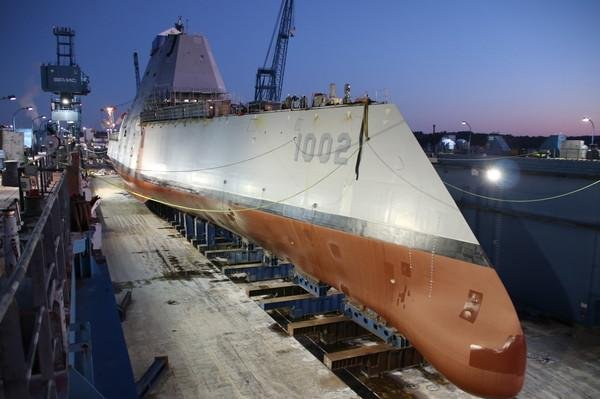 USS Lyndon B Johnson being readied in dry dock, ahead of flooding the dock so that work can continue on the vessel as it floats in water. Photo courtesy of General Dynamics-Bath Iron Works