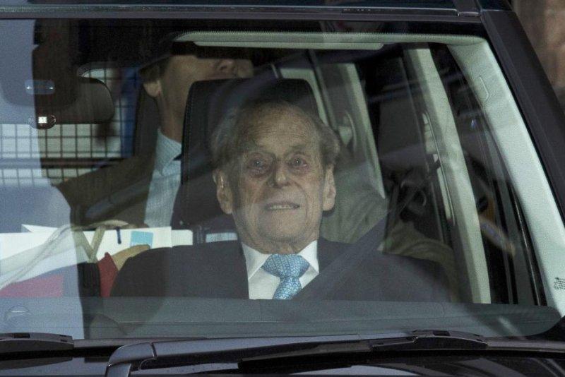 Prince Philip, the Duke of Edinburgh, leaves King Edward VII's Hospital in London Tuesday. Photo by Neil Hall/EPA-EFE