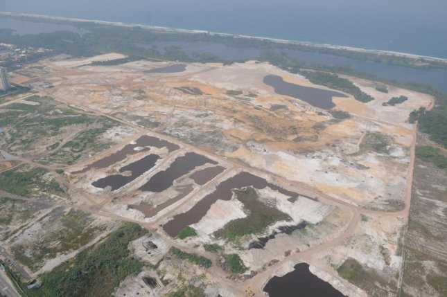 Construction for the Olympic golf course is seen in Rio de Janeiro, Brazil. Officials plan to create movement in the course's two man made ponds to disrupt potential breeding grounds for mosquitos carrying the Zika virus. File photo by A.RICARDO/ Shutterstock.com