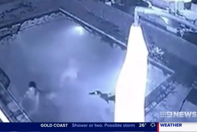A crocodile chases a woman in a swimming pool in Zimbabwe. Screenshot: 9 News/Facebook