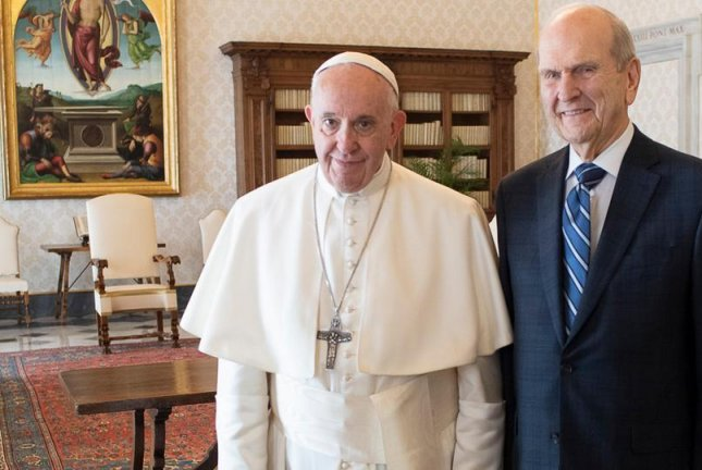 Pope Francis (L) meets with Jesus Christ of Latter-day Saints President Russell Nelson in the Vatican Saturday. Photo courtesy Vatican/Latter-day Saints