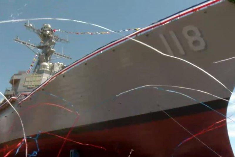 Confetti adorns the USS Daniel Inouye after christening Saturday in Bath, Maine. Screenshot courtesy U.S. Navy