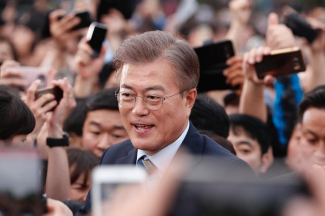 South Korean presidential front-runner Moon Jae-in is placing top priority on job creation in a slow-growth economy. File Photo by Jeon Heon-kyun/EPA