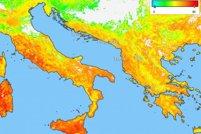 Temperatures regularly rose above 100 degrees Fahrenheit last week in Southern Europe. Photo by ESA