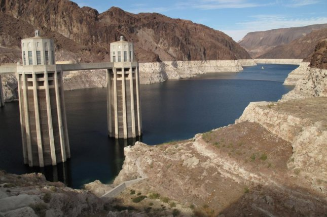 A 20-year drought and overuse of Colorado River water has caused Lake Mead's elevation to drop, exposing collection towers for the Hoover Dam. Photo byCmpxchg8b/Wikipedia Commons