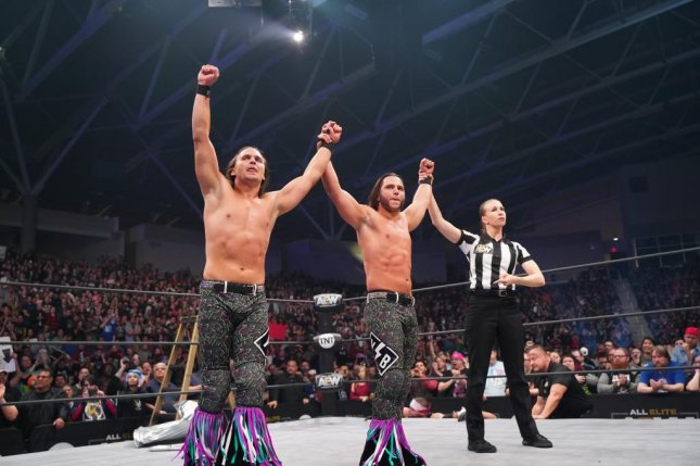 Nick (L) and Matt Jackson of The Young Bucks are the centerpiece of AEW's Tag Team Division. The Young Bucks will be a featured part of Bash at the Beach on Wednesday at 8 p.m. EDT on TNT. Photo courtesy of AEW