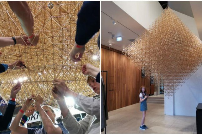 Participants at an Estonian fair assembled the world's largest Himmeli ornament -- a mobile constructed from reeds. Photo courtesy of Guinness World Records