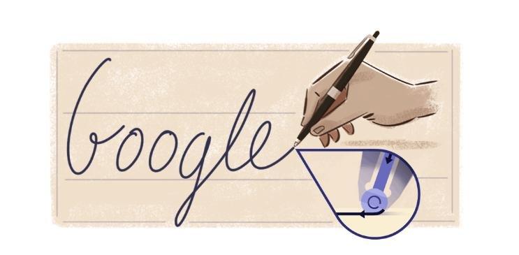 Google is celebrating the 177th birthday of ballpoint pen creator Ladislao Jose Biro with a new Doodle. Photo courtesy of Google.com