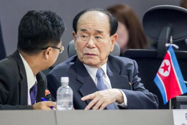 Chairman of the Presidium of the Supreme Assembly of North Korea Kim Yong Nam left Pyongyang on Monday to attend the upcoming inauguration ceremony for Iranian President Hassan Rouhani, according to Pyongyang's state media. File Photo by Miguel Gutierrez/EPA