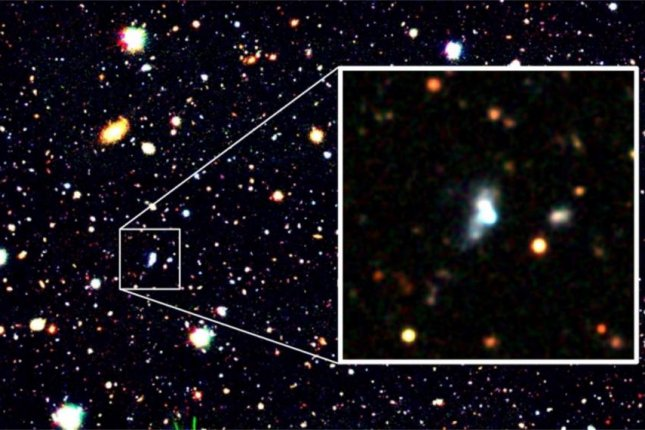 The newly imaged HSC J1631+4426 is an extremely metal-poor galaxy with record-low oxygen levels. According to astronomers, it looks like what some of the cosmos' first galaxies might have looked like. Photo by NAOJ/Kojima et al.