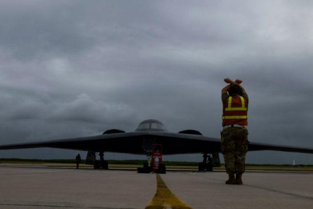 A U.S. Air Force B-2 bomber lands at Naval Support Facility Diego Garcia on Wednesday. Photo by TSgt. Heather Salazar/USAF