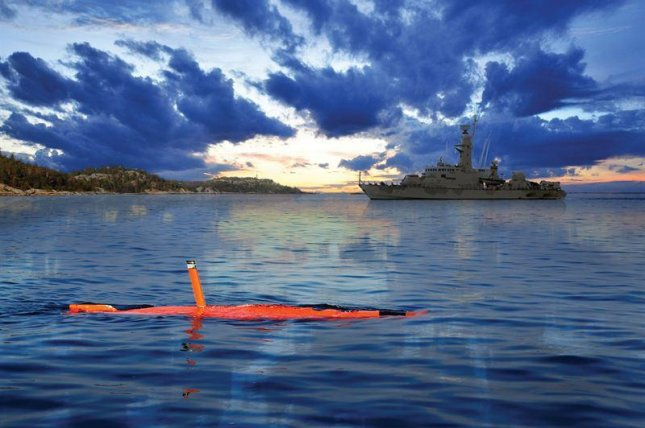 Saab's AUV62-AT system, pictured in the foreground, mimics the movements of a submarine, allowing for targeting training without the need for a real submarine. Photo courtesy Saab