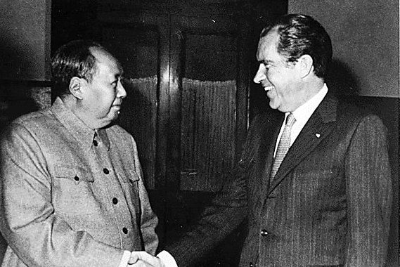 Mao greets Nixon in a historic trip covered in the latest excerpts of HR Haldeman's diaries to be released. (Wikipedia)