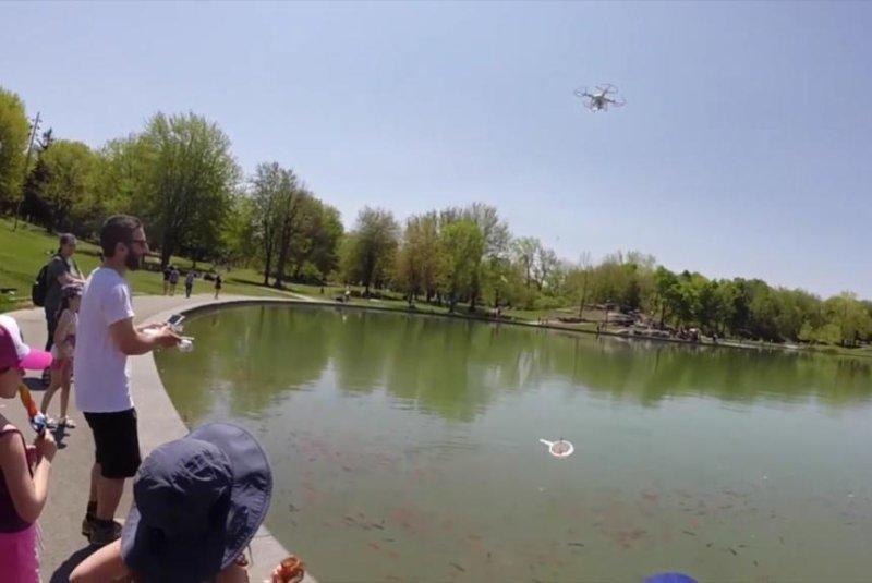 An Quebec man uses a quadcopter drone to catch a goldfish. Screenshot: Newsflare