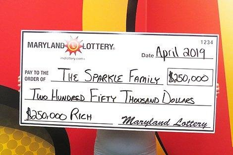 A Maryland couple found a forgotten lottery ticket in their car that turned out to be worth $250,000 -- their second major lottery prize. Photo courtesy of the Maryland Lottery