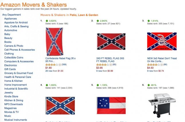 Amazon started removing items featuring the Confederate flag from its website Tuesday, though earlier in the day the online retailer's fastest increase in sales was Confederate flags. Screenshot/Amazon.com