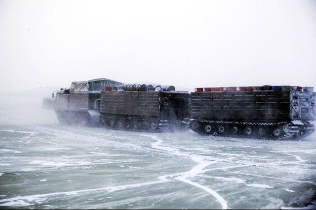 This tracked transport vehicle is among the new equipment being tested by the Russian military in the Arctic. Photo courtesy of Ministry of Defense of the Russian Federation