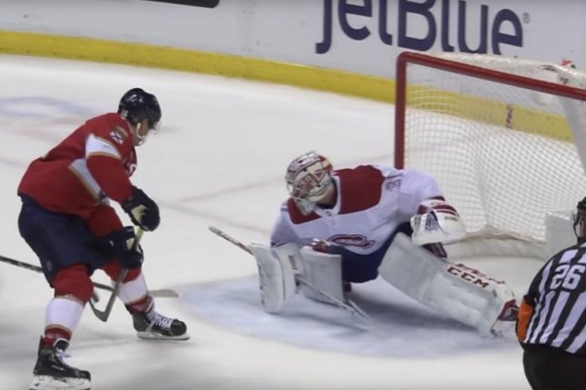 Florida Panthers center Aleksander Barkov went between-the-legs for his second goal in a win against the Montreal Canadiens on Sunday in Sunrise, Fla. Photo courtesy of NHL/YouTube