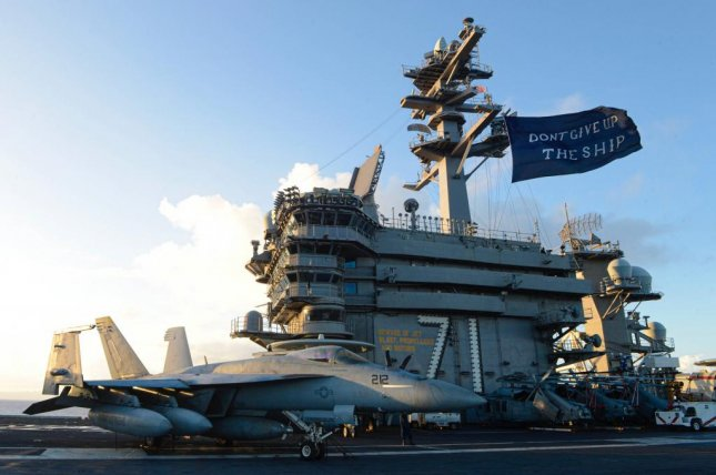 The USS Theodore Roosevelt returned to its home port in San Diego after a six-month deployment, more than two months of which was spent docked in Guam to contain a COVID-19 outbreak. Photo courtesy of Official CVN 71/Twitter