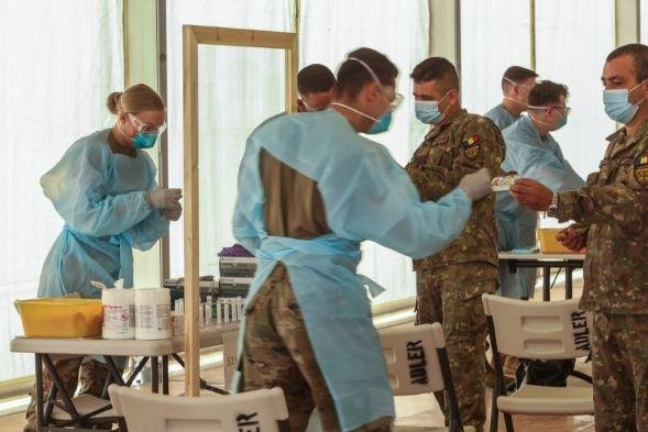 Medical units of the U.S. Army's Joint Multinational Readiness Center prepare for Saber Junction 20, a 10-nation military exercise in August at two U.S. training centers in Germany. Photo by Spc. Audrequez Evans/U.S. Army