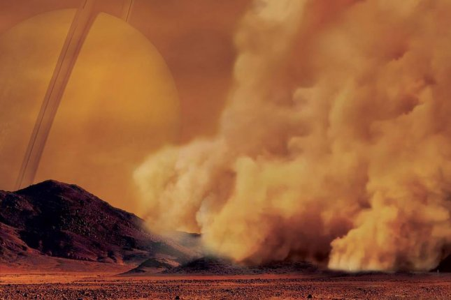 An artist's rendering of a dust storm on Titan. Photo by IPGP/Labex UnivEarthS/University Paris Diderot -- C. Epitalon and S. Rodriguez