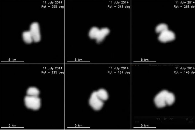 Images of the conjoined comets, released prematurely by France's space agency. (ESA / Rosetta / MPS for OSIRIS Team MPS / UPD / LAM / IAA / SSO / INTA / UPM / DASP / IDA)
