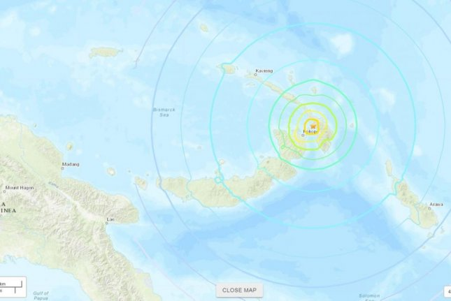 A magnitude 7.5 earthquake hit a sparsely populated area of Papua New Guinea Tuesday. Image courtesy U.S. Geological Survey