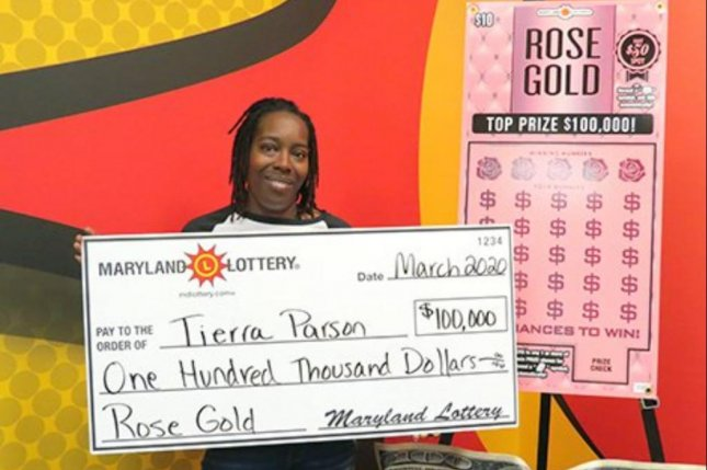 A Maryland woman said a scratch-off lottery ticket recommended by a checkout clerk earned her a $100,000 jackpot. Photo courtesy of the Maryland Lottery