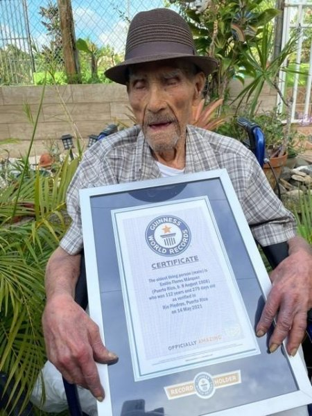 Puerto Rican man Emilio Flores Marquez was dubbed the world's oldest living man by Guinness World Records at the age of 112 years, 326 days. Photo courtesy of Guinness World Records